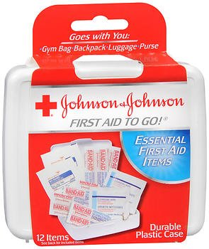 Johnson Mini First Aid - Mini First Aid To Go Kit, 12 Pieces, Plastic Case [Set of 4]