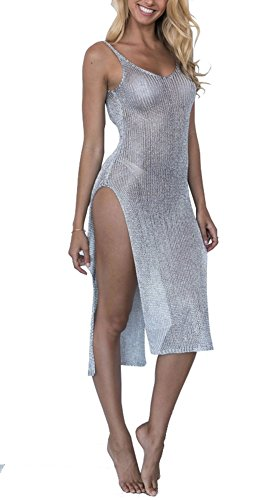 D-Sun Women's Sexy See Though Gold Side Slit Long Beach Dress Bikini Cover-up Swimsuit (Silver, One ()