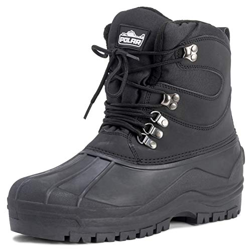 Mens Snow Waterproof Duck Hiking Bean Hiker Walking Short Ankle Boots - Black - US10/EU43 - YC0439
