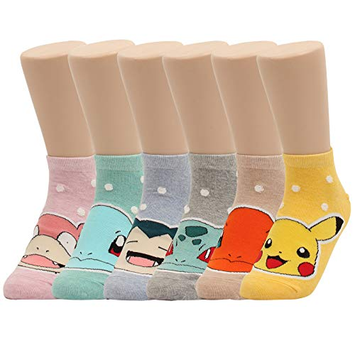 WOWFOOT Cute Pokemon Cartoon Character Print Cotton Crew Floor Socks For Women Girl Boy 4pair (6 pair - Pokemon Series 8)