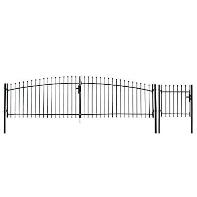 ALEKO DWGD15X5PD DIY Steel Dual Swing Driveway Gate Kit Athens Style 15 x 5 Feet with Pedestrian Gate 3 x 5 Feet