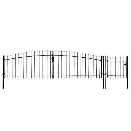 ALEKO DWGD15X5PD DIY Ornamental Dual Swing Driveway Gate Kit Athens Style 15 x 5 Feet with Pedestrian Gate 3 x 5 Feet