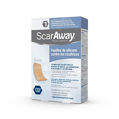 [스카어웨이] ScarAway Professional Grade Silicone Scar Treatment Sheets-8 Multi-Use Soft Fabric Backed Sheets, 1.5 X 3-Inch