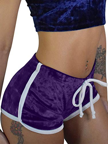 TOB Women's Sexy Drawstring Velvet Outfits High Waist Club Mini Shorts Purple -