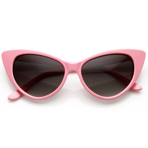(Super Cateyes Vintage Inspired Fashion Mod Chic High Pointed Cat-Eye Sunglasses (Light Pink))