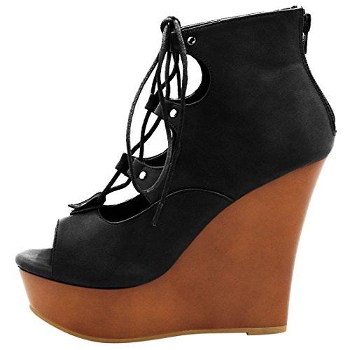 Allegra K Womens Lace-Up Cutout Wedge Sandals Black mb8qQd