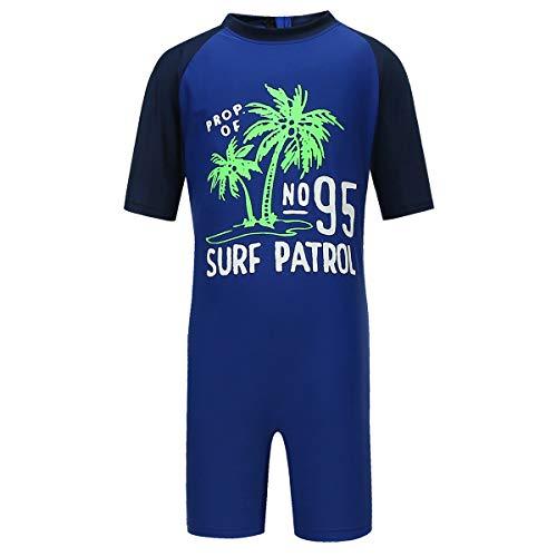 PHIBEE Boys' One Piece Rash Guard Swimsuit Short Sleeve UPF 50+ Sun Protection Bathing Suits Navy 4T