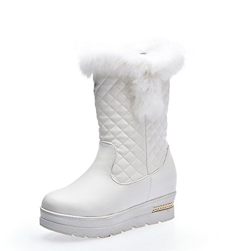 Allhqfashion Para Mujer Kitten-heels Pu Sólido Low-top Botas Blanco