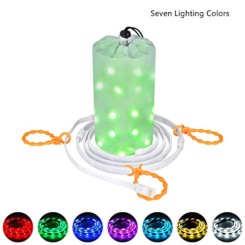 Dust2Oasis Camping Lights String, Portable Outdoor Camping Tent Light Lantern USB Powered LED Rope Light Strip Light for Camping,Hiking,Safety,Emergencies,Garden,Party, Bedroom Deco (Multi Color)