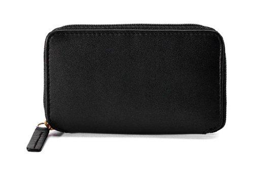Cowhide Napa Leather Zip-Around Key Case Color: Brown