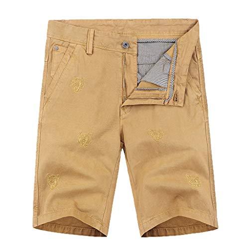 NUWFOR Men's Summer New Simple Fashion Pocket Shorts Comfortable Large Shorts(Khaki,US S Waist:29.13'') ()