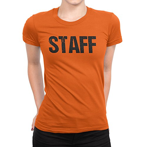 NYC FACTORY Ladies Neon Orange Staff T-Shirt Front & Back Print Event Shirt Womens Hallow. -