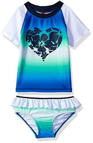 Price comparison product image Tommy Bahama Toddler Girls' Gradient Short Sleeve Two Piece Rash Guard Set, Multi, 3T