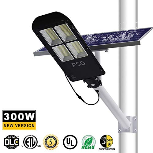 300W Solar Street Lights Outdoor Lamp, 480 LEDs 12000 Lumens, with Remote Control,Light Control, Dusk to Dawn Security Led Flood Light for Yard, Garden, Street, Basketball Court