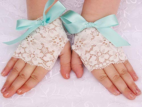 Girls Easter Lace Gloves with Custom Bow Colors Flower girl Wedding
