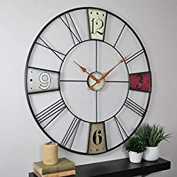 Firstime CoVibrant Plaques Wall Clock - 36 Clear Multi Color Modern Contemporary Round Iron Metal Finish Numerical Display Roman Numeral