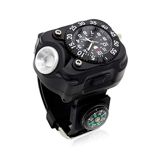 FOONEE USB Rechargeable LED Flashlight Watch Compass Waterproof LED Wrist Watch Light Outdoor Activities