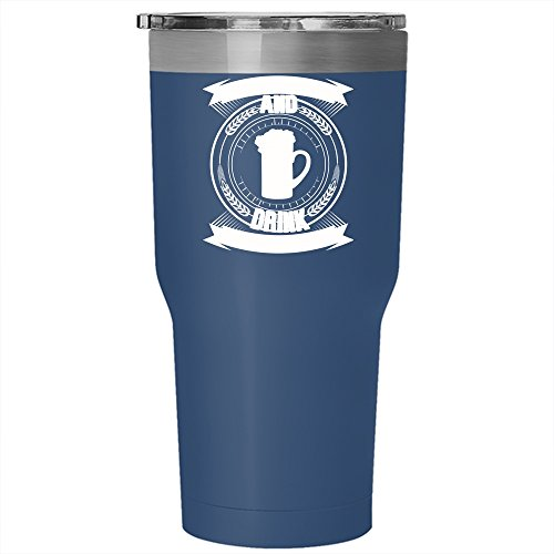 Just Keep Calm And Drink Craft Beer Tumbler 30 oz Stainless Steel, Cool Drink Beer Travel Mug (Tumbler - Blue)