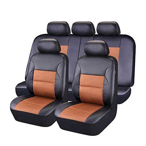 CAR PASS 11 Pieces Leather Universal Car Seat Covers Set - Black and Khaki