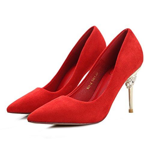 Luz Madre Rojo MDRW Puerto Zapatos Seguido 34 Zapatos Ocio Salvaje Trabajo Heeled Satén De Boda 36 Zapatos Mujer Elegante Lady Punta Por Muelle Acompañado Zapatos High De 9Cm De Solo Multa q4qSOw