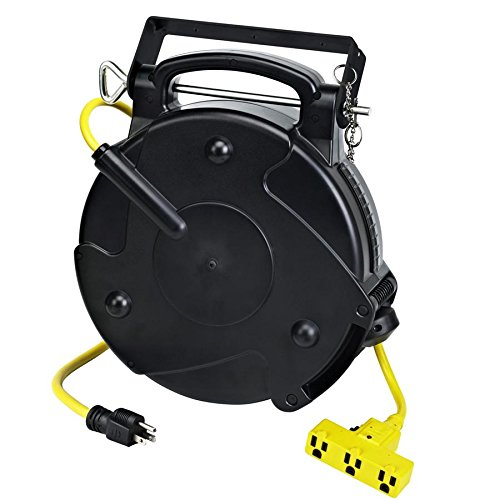 Industrial Heavy Duty 12/3 Retractable Extension Cord Reel W/ Tri-Tap 40' Retractable Cord Reel