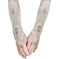 JISEN Women Banquet Party Fingerless Elegant Lace Embroidered Bridal Gloves 11 Inch Champagne