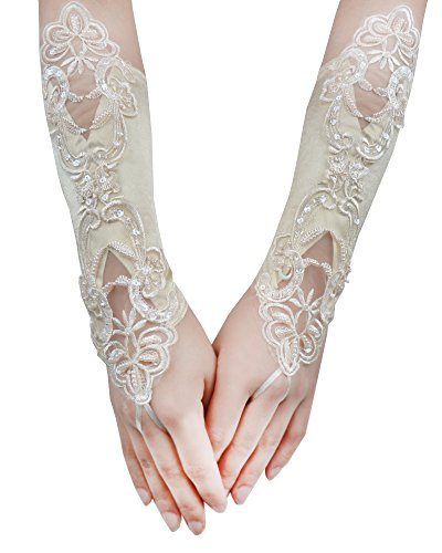 JISEN Women Banquet Party Fingerless Elegant Lace Embroidered Bridal Gloves 11 Inch Champagne (Champagne Lace Bridal Shop)