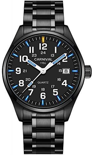 PASOY Mens Luminous Tritium Watch Waterproof Blue Light Black Stainless Steel Quartz Military Watches (Blue)