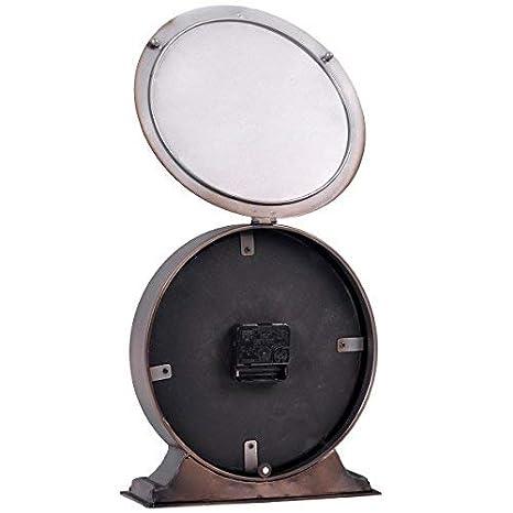 NIKKY HOME Vintage Zinn Tischuhr Runde Taschenuhr Design dekorative Schwarz 20,5 cm