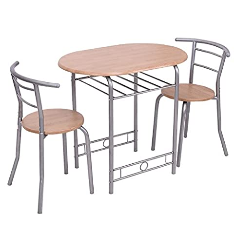Giantex 3 PCS Bistro Dining Set Table and 2 Chairs Kitchen Pub Home Furniture Restaurant (Nature) (White Bistro Dining Table)