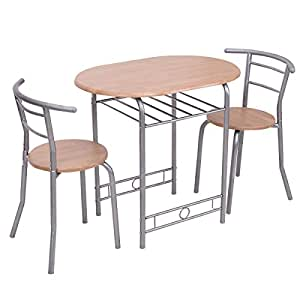 Giantex 3 PCS Bistro Dining Set Table and 2 Chairs Kitchen Pub Home Furniture Restaurant (Nature)