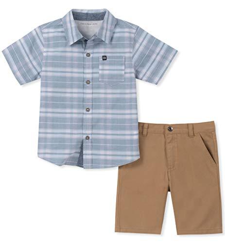 Calvin Klein Boys' Little 2 Pieces Shirt Shorts Set, Blue/White, 6