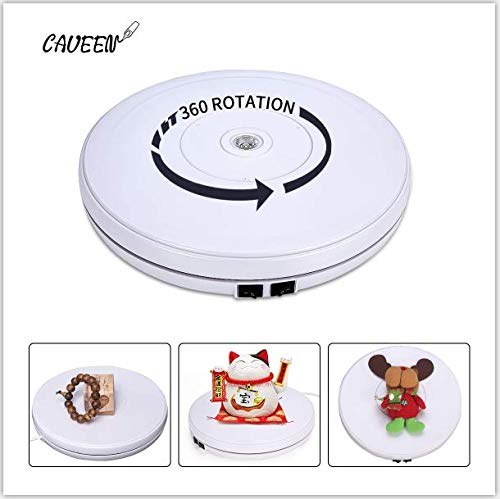 Caveen Rotating Display Stand Turntable Electric Motorized with LED 10 Inch White( Max Loading 10KG) white