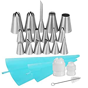22-in-1 Cake Decorating Supplies, YIHONG Baking Tools with 17 Icing Tips (4 Jumbo Tips, 12 Regular Tips, 1 Bismarck Tip), 2 Reusable Pastry Bags, 2 Reusable Couplers, 1 Cleaning Brush Baking Supplies