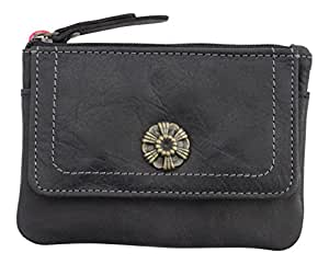 Mala Leather Tudor Rose Coin Purse Wallet in Tan or Black with RFID Protection 4129