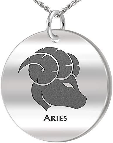 0.925 Sterling Silver Zodiac Aries Ram March /& April Charm Necklace Pendant