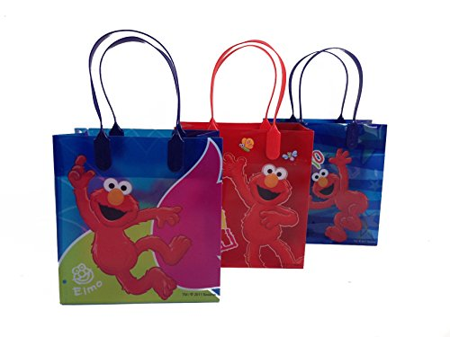 First Birthday Loot Bags ((12ct) Disney Nickelodeon Marvel Birthday Goody Gift Loot Favor Bags Party Supplies (Elmo))
