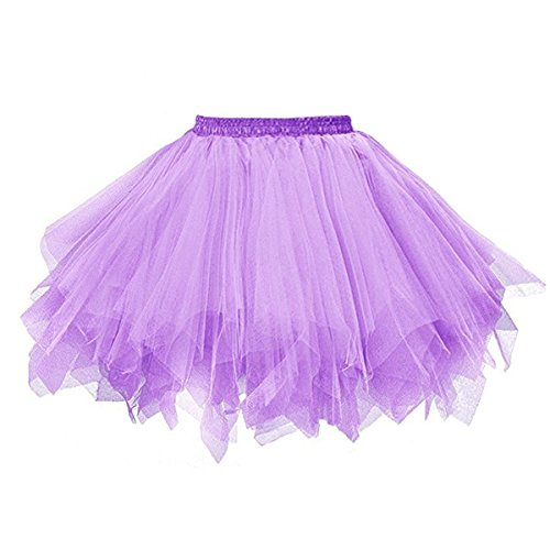 Topdress Women's 1950s Vintage Tutu Petticoat Ballet Bubble Skirt (26 Colors) Lavender XL -