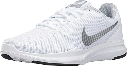 Nike Womens Entry - Nike Women's In-Season Trainer 7 Cross Training Shoes (9 M US, White/Metallic Silver)