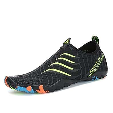 Men Women Water Shoes Quick Dry Barefoot for Swim Diving Surf Aqua Sports Pool Beach Walking Yoga Black Green 4.5