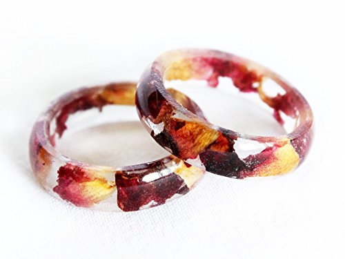 Rose Resin Ring, Plant Ring, Red Rose Ring, Terrarium Ring, Real Flower Resin Ring, Promise Ring, Botanical Ring, Pressed Flowers, Boho Ring (Hematite Promise Ring)