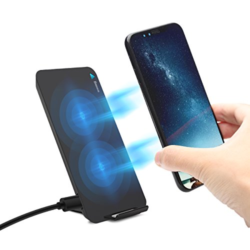 Baseus Fast Qi Wireless Charger Pad Stand for Samsung Galaxy Note 8 S8 S8 Plus S7 Edge S7 S6 Edge Plus Note 5 and Standard Charge for Apple iPhone X iPhone 8 iPhone 8 Plus