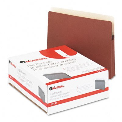 UNIVERSAL 1 3/4'' Expansion File Pockets, Straight, Redrope/MLA, Letter, Redrope, 25/Pack (Case of 3) by Universal