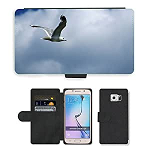 Super Stella Cell Phone Card Slot PU Leather Wallet Case // M00106664 Nature Animal Bird Seagull Fly // Samsung Galaxy S6 (Not Fits S6 EDGE)
