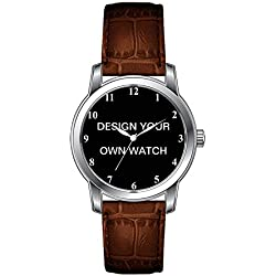 JLS Creative Watches Men's Vintage Design Leather Brown Band Wrist Watch Design your own watch face