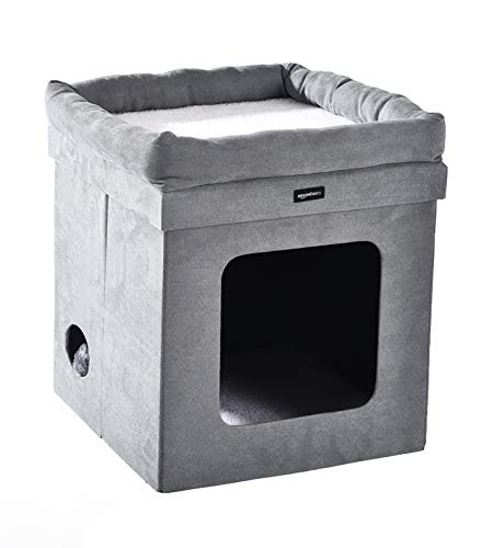 AmazonBasics Collapsible Cube Cat Bed - 15 x 15 x 17 Inches, Grey