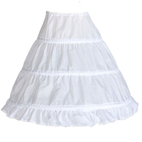 Edress Girls' 3 Hoops Petticoat Full Slip Flower Girl Crinoline Skirt (White Large)