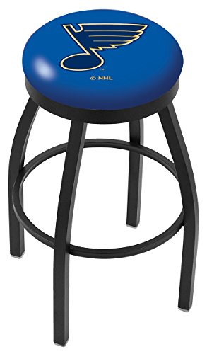 """30"""" L8B2B - Black Wrinkle St Louis Blues Swivel Bar Stool with Accent Ring by Holland Bar Stool Company"""