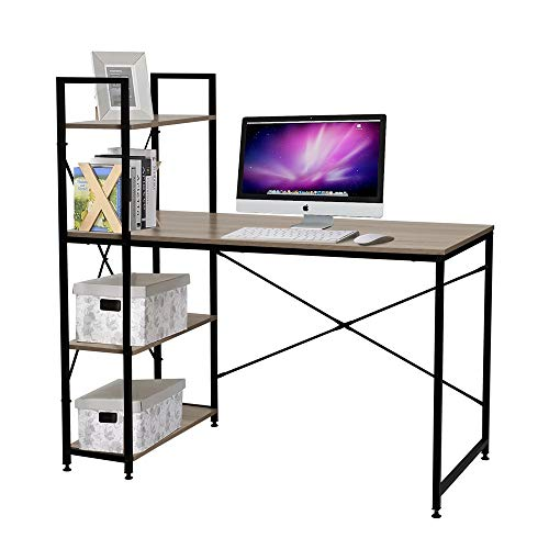Bestier Computer Desk Home Office Writing Study Wooden Table Workstation with 4 Tier Bookshelves (Oak)