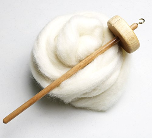 Happy Classy Drop Spindle Top Whorl Hand Carved Includes 4 oz Premium Natural White Wool Combed Top Roving Gift Bundle - Drop Spindle Yarn